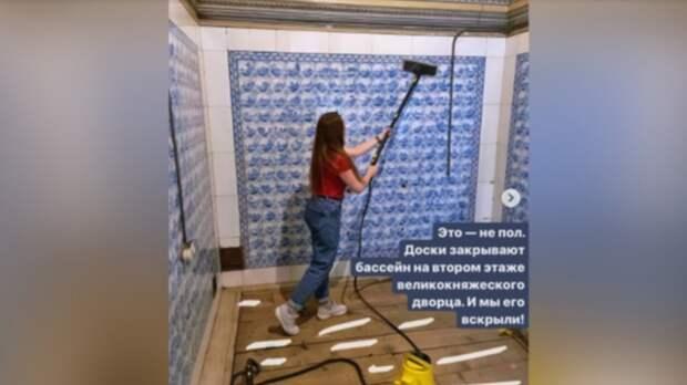 Петербургские активисты отмыли мраморный бассейн во Владимирском дворце