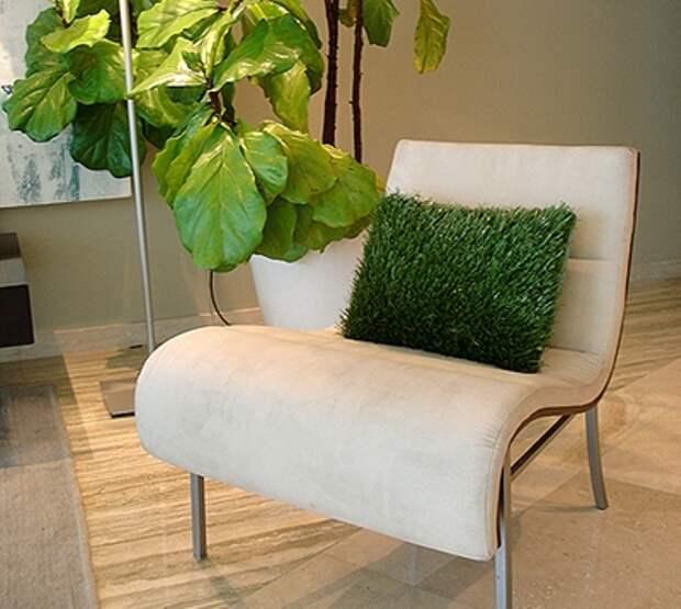 Искусственная трава в горшке: украшаем интерьер декоративной зеленью (34 фото)