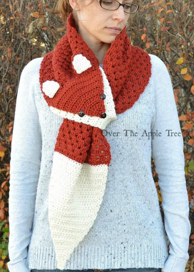 Шарфик-лисичка вязание, новый год, подарки