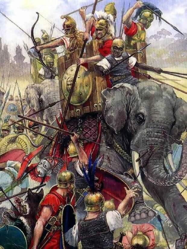 Слоны Пирра в бою. Картина современного художника.