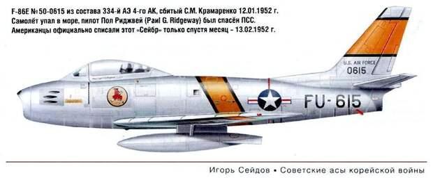F-86E Пола Ридживея сбитый С.М.Крамаренко 12.01.1952 г.