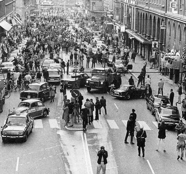 Первое утро после того, как Швеция перешла от левостороннего движения к правостороннему, 1967 год