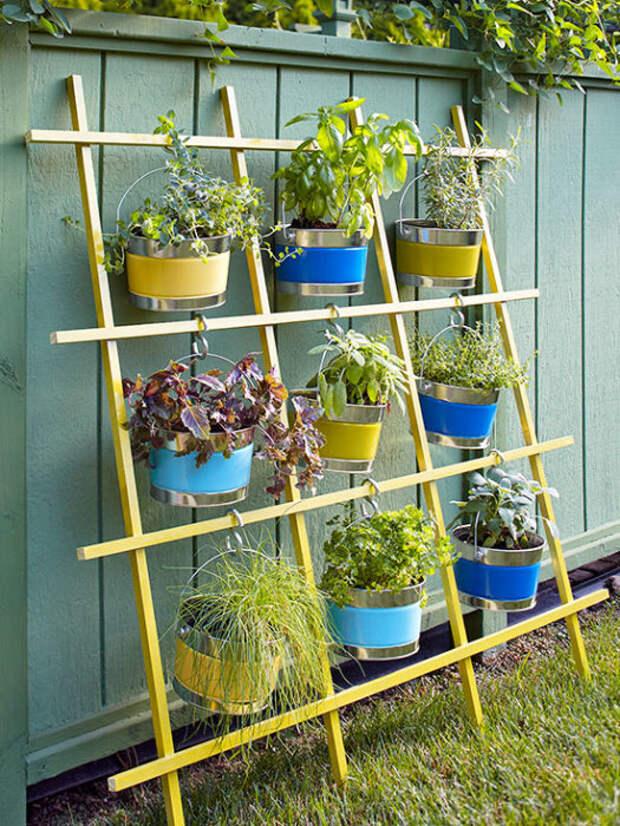 Деревянные решётки – это еще один оригинальный вариант для создания вертикального озеленения.