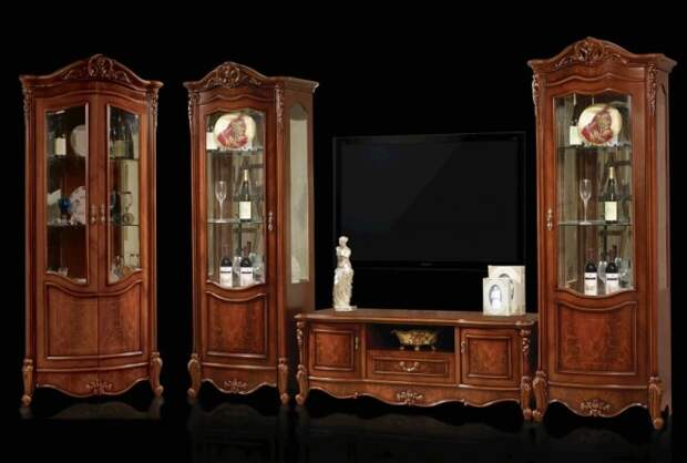 Шкафы-витрины со стеклом для гостиной: модели, материалы, стили (98 фото)