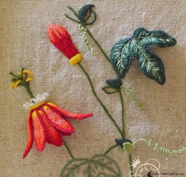 Цветы объемной вышивкой гладью. Красивые работы (14) (652x619, 383Kb)