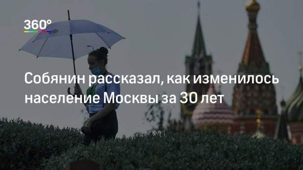 Собянин рассказал, как изменилось население Москвы за 30 лет