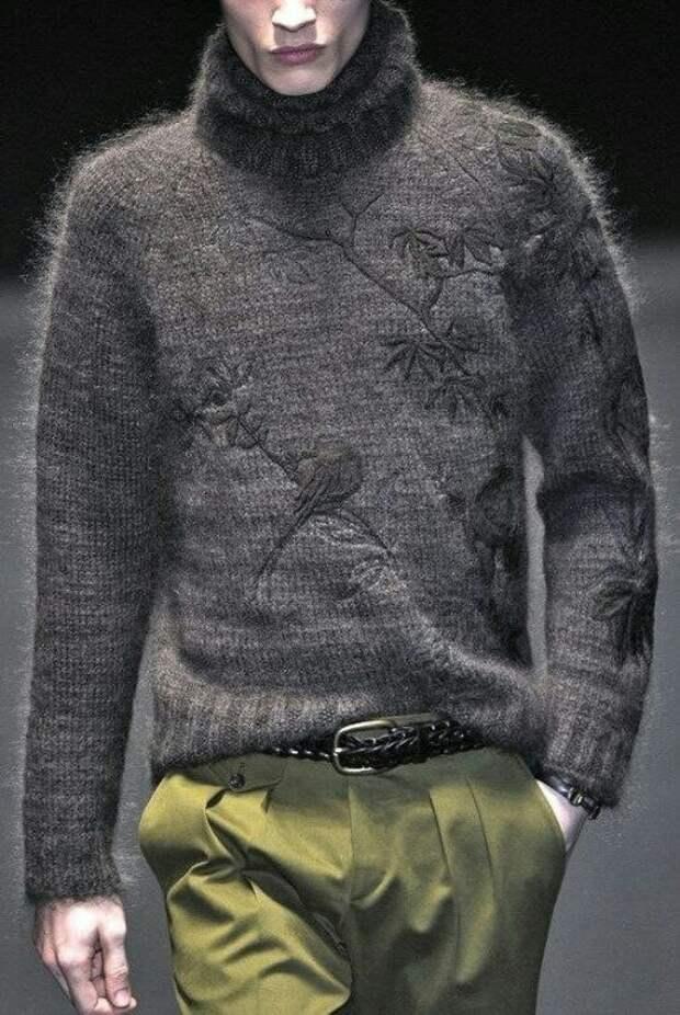Вышивки на мужских свитерах (подборка)