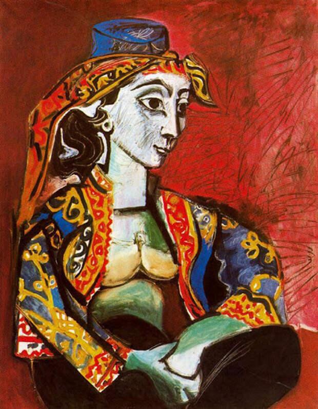 Картина Пабло Пикассо. Жаклин в турецком костюме. 1955 | Пабло Пикассо