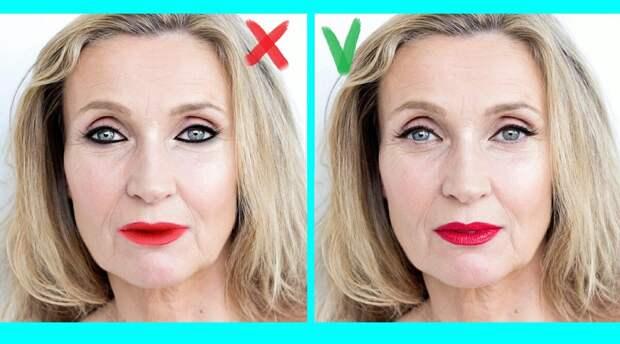 На фото показано, как выглядит макияж, если не придерживаться этих правил, и если соблюдать.