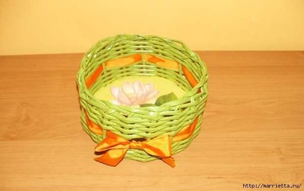 Плетение из газет. Корзинка для пасхальных яиц. Мастер-класс (9) (625x394, 128Kb)