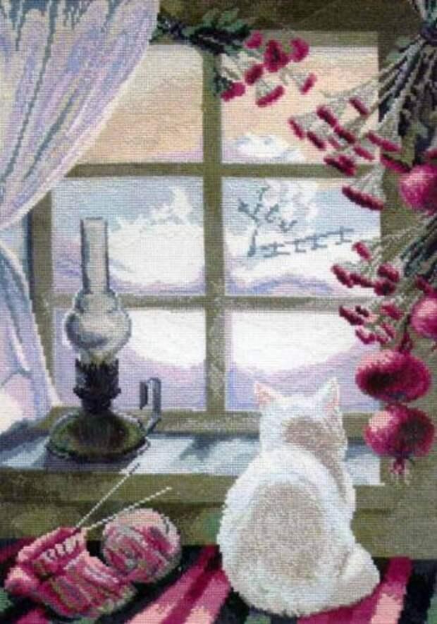 Вышивка Кошка у окошка (Чаривна мить)