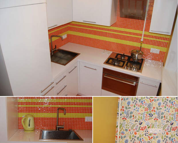 Белая кухня с ярким фартуком в хрущевке