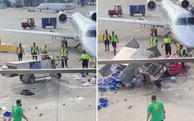 В аэропорту «взбесился» электрокар. Просто повезло, что без взрыва (видео)