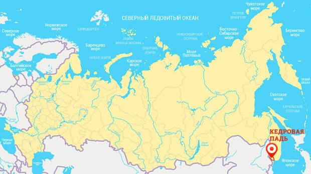 Карта, заповедник Кедровая падь