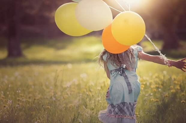 Девочка, Воздушные Шары, Ребенок, Счастливы, Из
