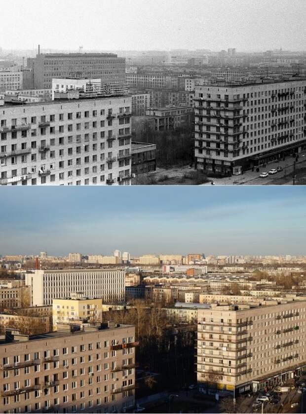 Вид на Ленинский проспект с дома №121 корп. 71984 и 2014