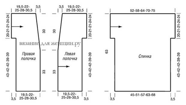 Длинный жилет спицами, схема и описание