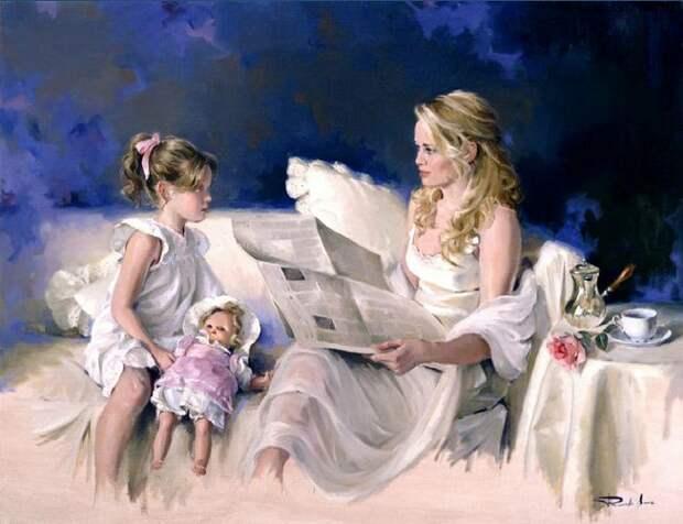 Художник Ricardo Sanz. Картина женщин маслом четвертая