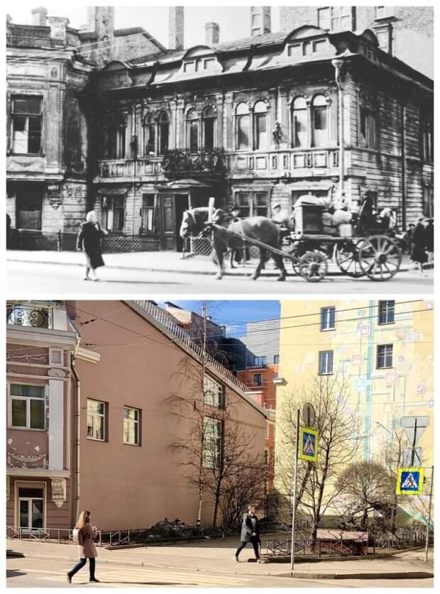 Угол Гатчинской и Большой Пушкарской.~1956 и 2021 год.