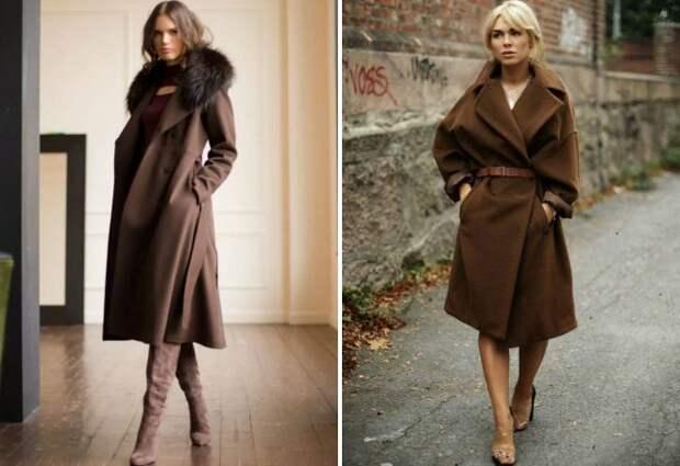 пальто шоколадного цвета