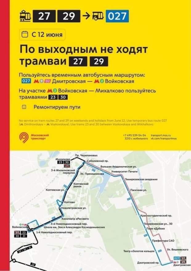 По выходным в Коптеве не будут ходить трамваи № 27 и 29