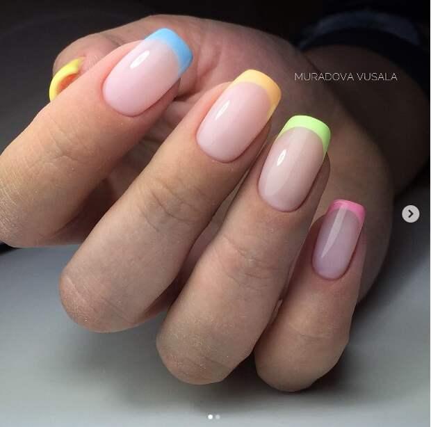 разноцветный френч фото 2