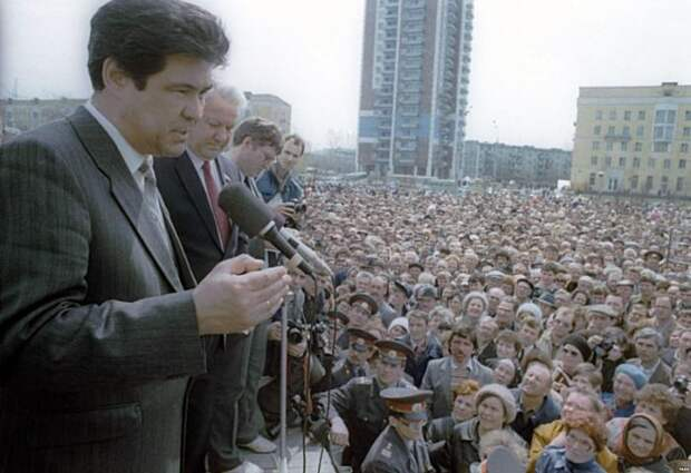 Аман Тулеев и Борис Ельцин на первомайском митинге, 1991 год, Новокузнецк