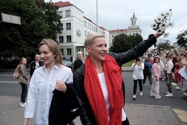 Белорусский оппозиционный политик Мария Колесникова на акции протеста в Минске, 29 августа 2020 года. BelaPAN via Reuters