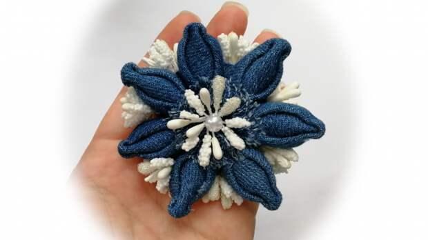 Красивый джинсовый цветок. Мастер-класс