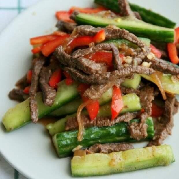 САЛАТНЫЙ ДЕНЬ. Огурцы с мясом по-корейски