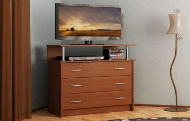 комод под телевизор с ящиками для белья