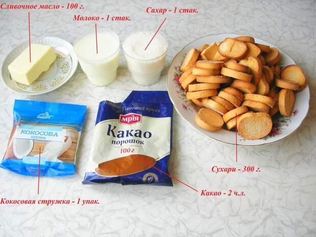 Конфеты из сухарей за 20 мин.