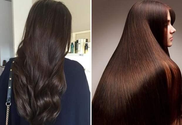 темно-шоколадный цвет волос