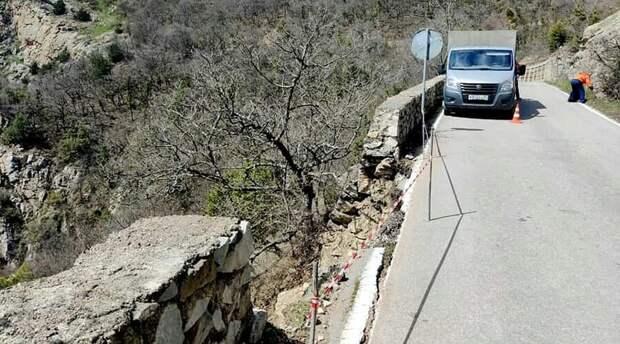 Из-за обвала подпорной стены ограничили движение на дороге «Гончарное – Ялта»