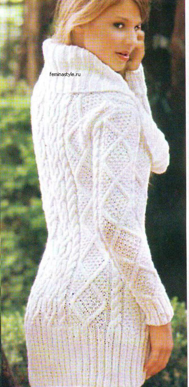 Пуловер Соло белого спицами
