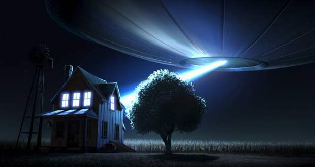 Твердый луч света, выходящий из НЛО