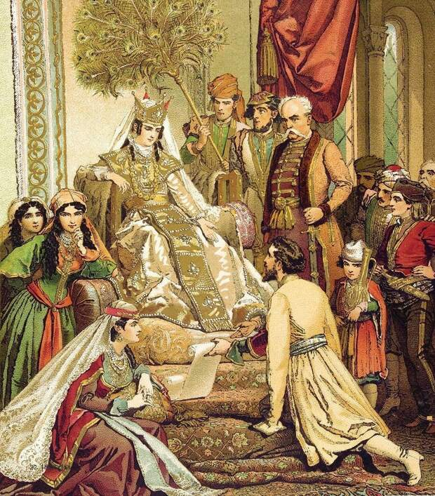 """Картина """"Шота Руставели преподносит свою поэму царице Тамаре"""". Михаил Зичи, 1880 год."""
