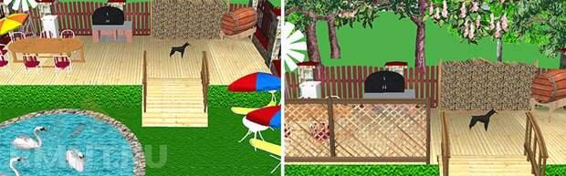 Пикник-центр с патио и прудом