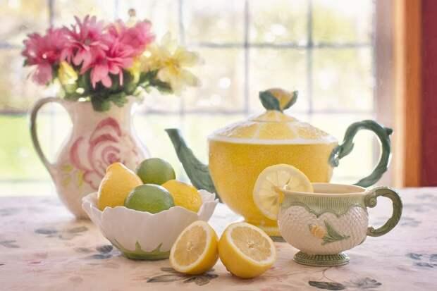 Чай, Лимонов, Чайник, Чашка, Время Чая
