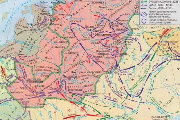 карта походов Батыя