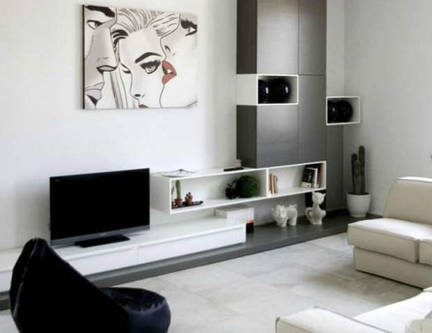 Гостиная в черно-белом цвете. | Фото: WordPress.com.