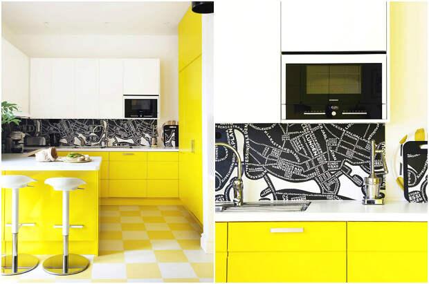 Жизнерадостный кухонный гарнитур жёлтого цвета