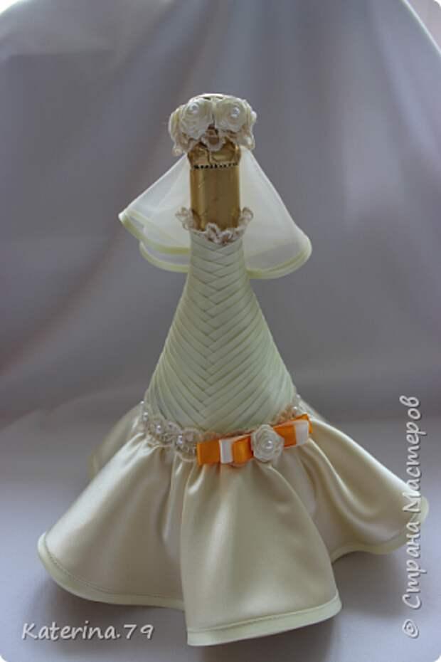 Декор предметов Мастер-класс Поделка изделие Свадьба Моделирование конструирование Шитьё Бутылочки жених и невеста как я делаю пушистую юбку для невесты  Бусины Бутылки стеклянные Ткань фото 16