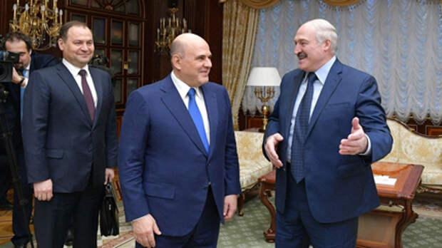 Премьер-министр РФ Михаил Мишустин на встрече с президентом Белоруссии Александром Лукашенко