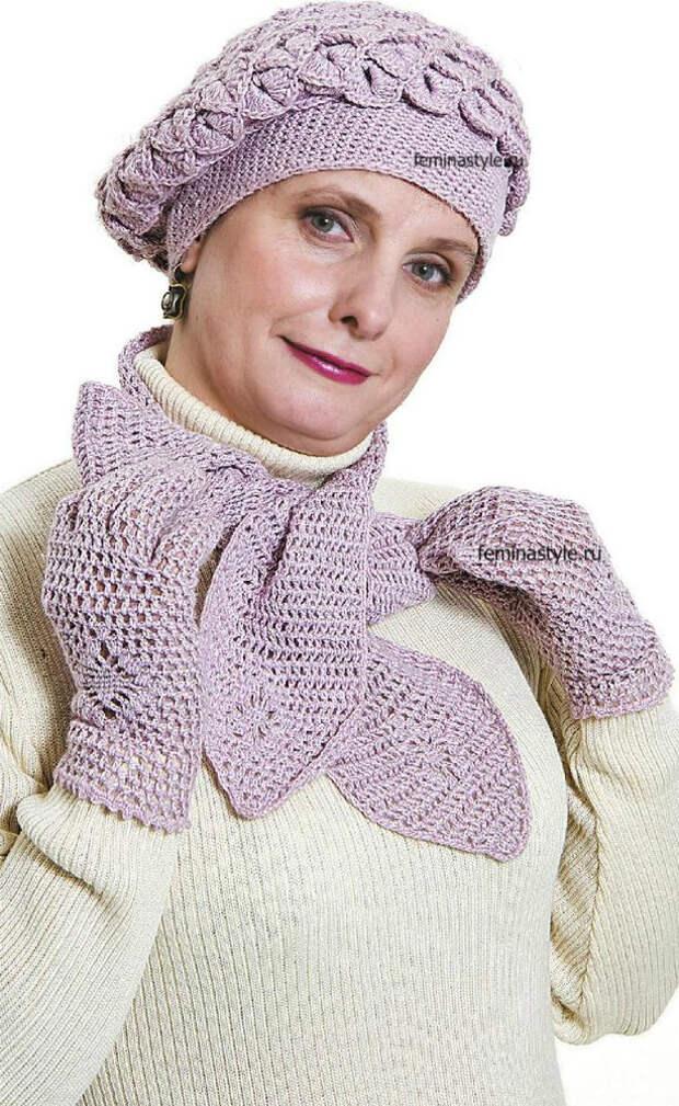 """Комплект """"Весна"""" : берет, шарф и перчатки"""