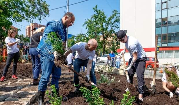 Именитые гости поучаствовали в строительстве нового сквера во Владивостоке