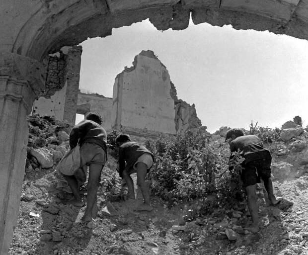 Италия, Монте-Кассино, 1948 год - Мальчишки, промышляющие поиском боеприпасов и каких-либо ценностей посреди развалин