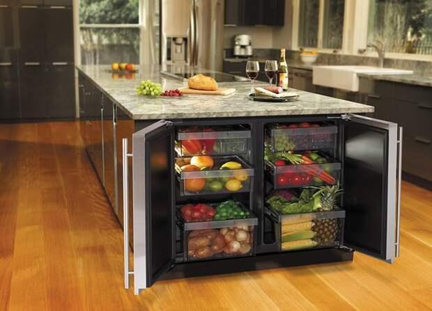 Отличные варианты размещения мини-холодильника на маленькой кухне