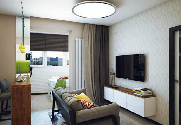 Крошечная гостиная в светлых тонах. | Фото: Строительный портал.