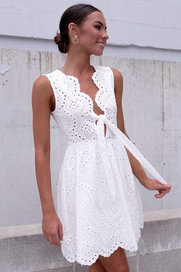 Платье белое летнее хлопок кружево шитье